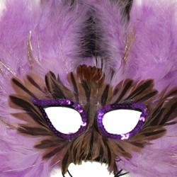 Light Purple Feather Masquerade Mask with Tinsel with Dyed Pheasant Feathers with Sequin Trim Around The Eyes