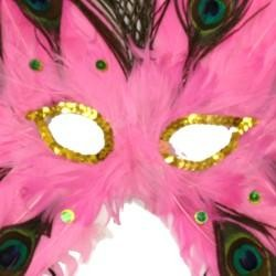 Light Pink Butterfly Shaped Feather Masquerade Mask