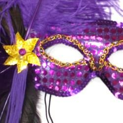 Purple Sequin Feather Masquerade Mask with Feathers on the Side and with a Flower