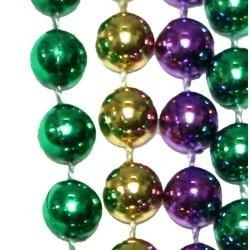 7mm 33in Purple, Green, and Gold Beads