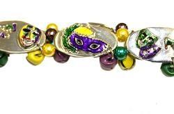 5/8in Wide Mardi Gras Metal Bracelet