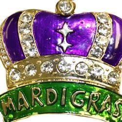 2in Tall x 2in Wide Metal Alloy Crown Pin/Brooch with Mardi Gras Words