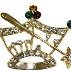 1 5/8in Tall x 2 1/4in Wide Mardi Gras Crown Pin/Brooch