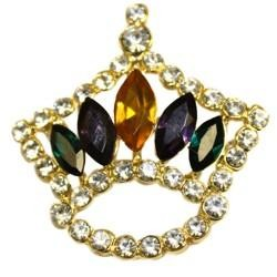 Mardi Gras Crown Pin/Brooch W/White Rhinestones And 5 Large Purple Green Gold Rhinestones