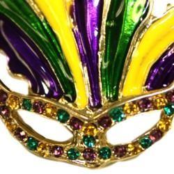 1 1/4in Tall x 1 1/2in Wide Mardi Gras Mask Pin/Brooch W/Purple Green Gold Rhinestones