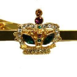 Crown Tie Clip and Cufflinks W /Rhinestones Set