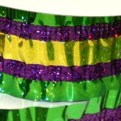 Purple Green Gold Laser Crinkle Ribbon