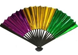 12in Metallic Purple Green Gold Foil Fans