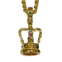 30in Gold Chain With 3-D Kings Crown Necklace