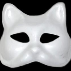 White Blank Paper Mache Half Face Cat Masquerade Mask