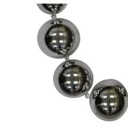 Graduated Silver Metallic Round Ball Necklace