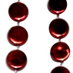 38in Burgundy Hockey Puck Beads
