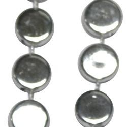 38in Metallic Silver Hockey Puck Beads