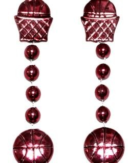 36in Metallic  Burgundy Basketball Net/ Basketball Beads