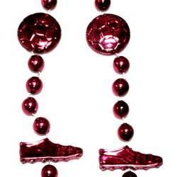 36in Metallic Burgundy Soccer Beads