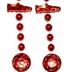36in Metallic Red Soccer Beads