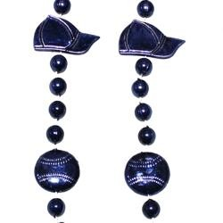 36in Metallic Navy Blue Baseball Cap/ Baseball Beads