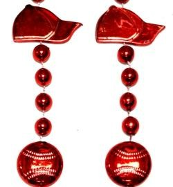 36in Metallic Red Baseball Cap/ Baseball Beads