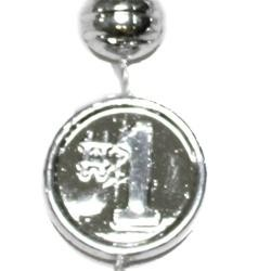 33in Metallic Silver Number 1 Basketball Beads
