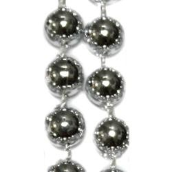 7mm 42in Metallic Silver Beads