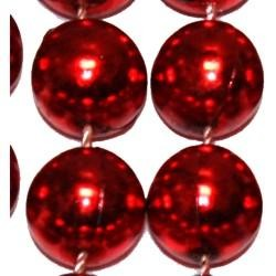 12mm 48in Metallic Red Beads