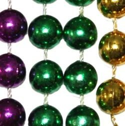 10 mm metallic purple, green, and gold Mardi Gras throw beads