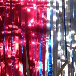 60ft X 12in Metallic Red/Blue/Silver Fringe