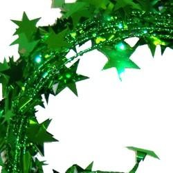 18ft Met Green Star Wire Garland