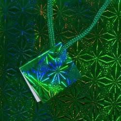 12 .5in x 10in x 5.5in Green Hologram Shopping Bag