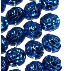 72in 16mm Metallic  Blue Rose Beads
