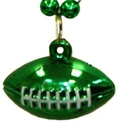 7mm 33in Green Beads with Football Medallion