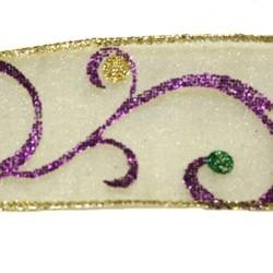 2 in x 3 yd Purple Green Gold Glitter Sheer Ribbon