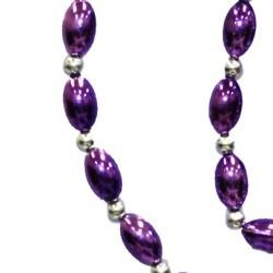 Purple Football Shaped Necklace Bracelets and Earrings Bead Set with Silver Spacers