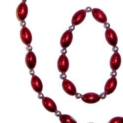 Red Football Shaped Necklace Bracelets and Earrings Bead Set with Silver Spacers