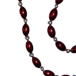 Burgundy Football Shaped Necklace Bracelets and Earrings Bead Set with Silver Spacers