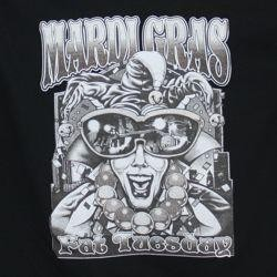Mardi Gras Fat Tuesday Black Long Sleeve T-Shirt Large Size
