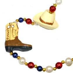 42in Cowboy Hat/ Boots/  Necklace with Red/ Blue/ White Pearl Beads