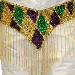 Gold Sequin Scarf W/Purple/Green/Gold Patches W/6in Beaded Fringe