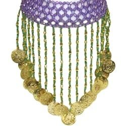 Purple Choker W/Metallic Gold Coins W/4in Beaded Fringe