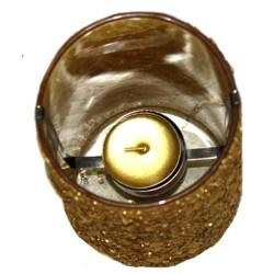 6in x 3.6in Gold Sequined Glass Candle Holder W/1 1/2in Candle