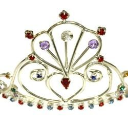 3in Tall  Colored Stone Metal Tiara W/Assorted Color Rhinestones