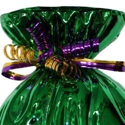 7in Metallic Green Plastic Vase with Purple and Gold Curled Ribbon
