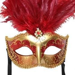 Dark Red and Gold Paper Mache Venetian Masquerade Mask with Dark Red Large Ostrich Feathers and with Glitter Accents