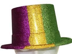 5 1/4in Tall 10 3/4in Long x 9 1/2in Wide  Mardi Gras Glittered Top Hat