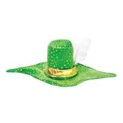 7 1/2in Tall Pointed Brim Leprechaun Hat W/Feather And Gold Band