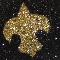 5in Long Glitter Black/ Gold Plastic Coconuts w/ Fleur-De-Lis Design