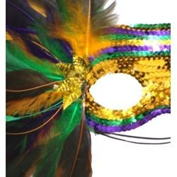 Sequin Masquerade Mask With Purple Green and Gold Feathers On A Side