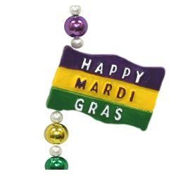 Happy Mardi Gras Flag Necklace