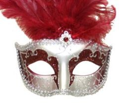 Burgundy and Silver Paper Mache Venetian Masquerade Mask with Glitter Accents and with Burgundy Larg