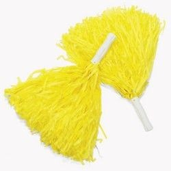 10in Plastic Yellow Pom Poms